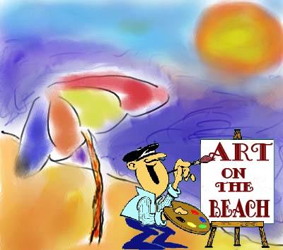 Man painting on the beach cartoon